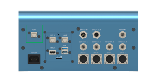 """Figure 4: The """"TO PC"""" Ethernet port on the MachineMotion controller, in the green box. MachineMotion 2 controller shown - CE-CL-010-0004."""