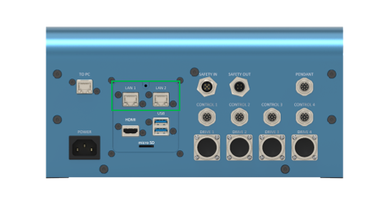 Figure 5: The standard configurable Ethernet connector. MachineMotion 2 controller shown - CE-CL-010-0004.