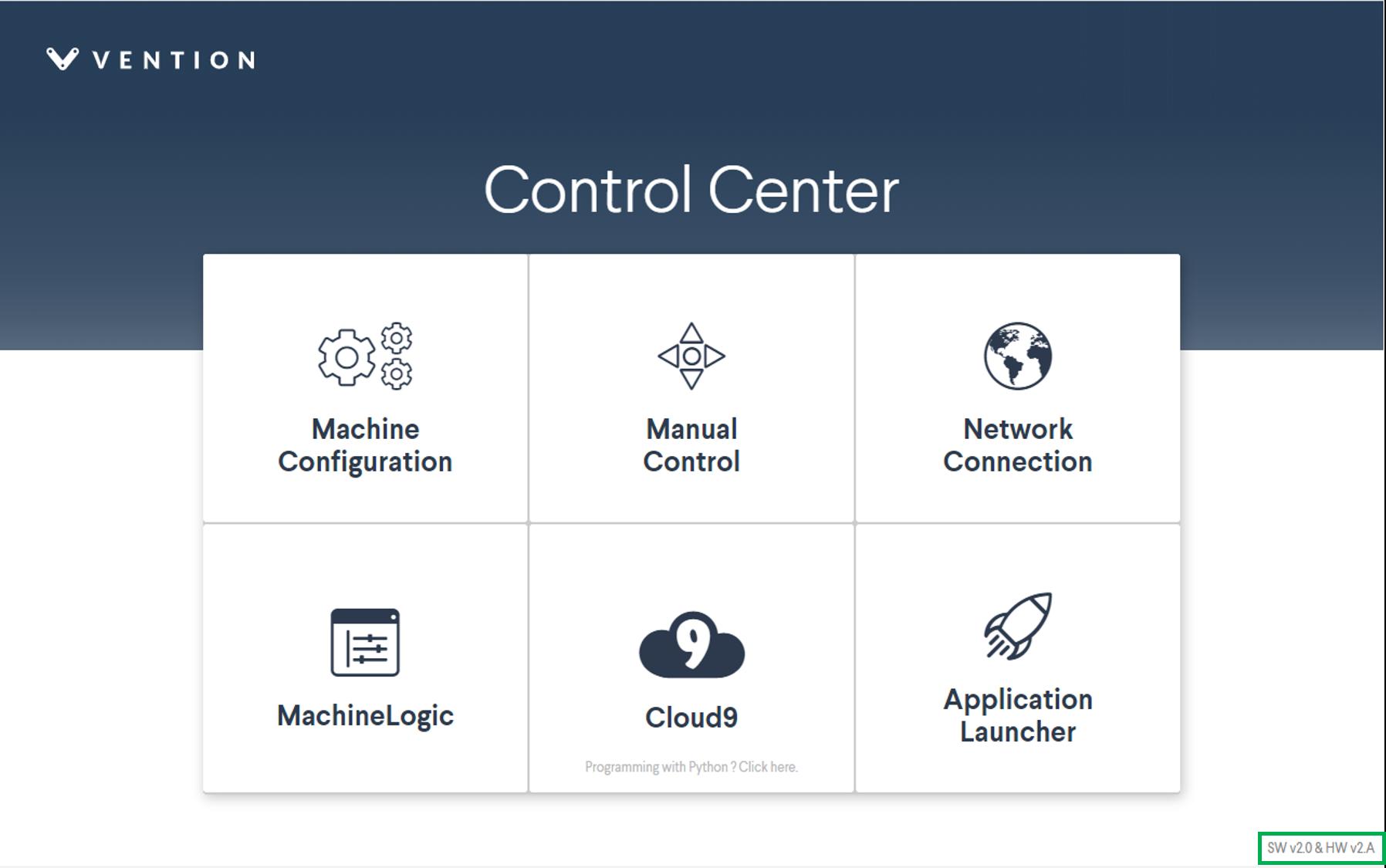 Figure 7: MachineMotion Control Center main page