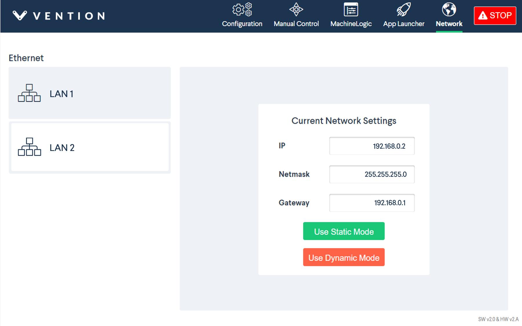 Figure 8: MachineMotion network settings
