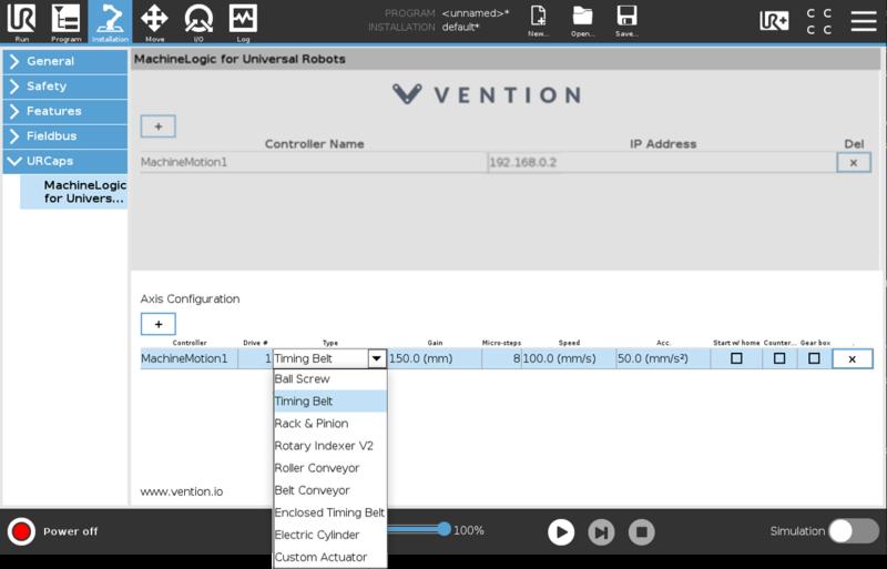 Figure 17: Vention URCap configuration screen