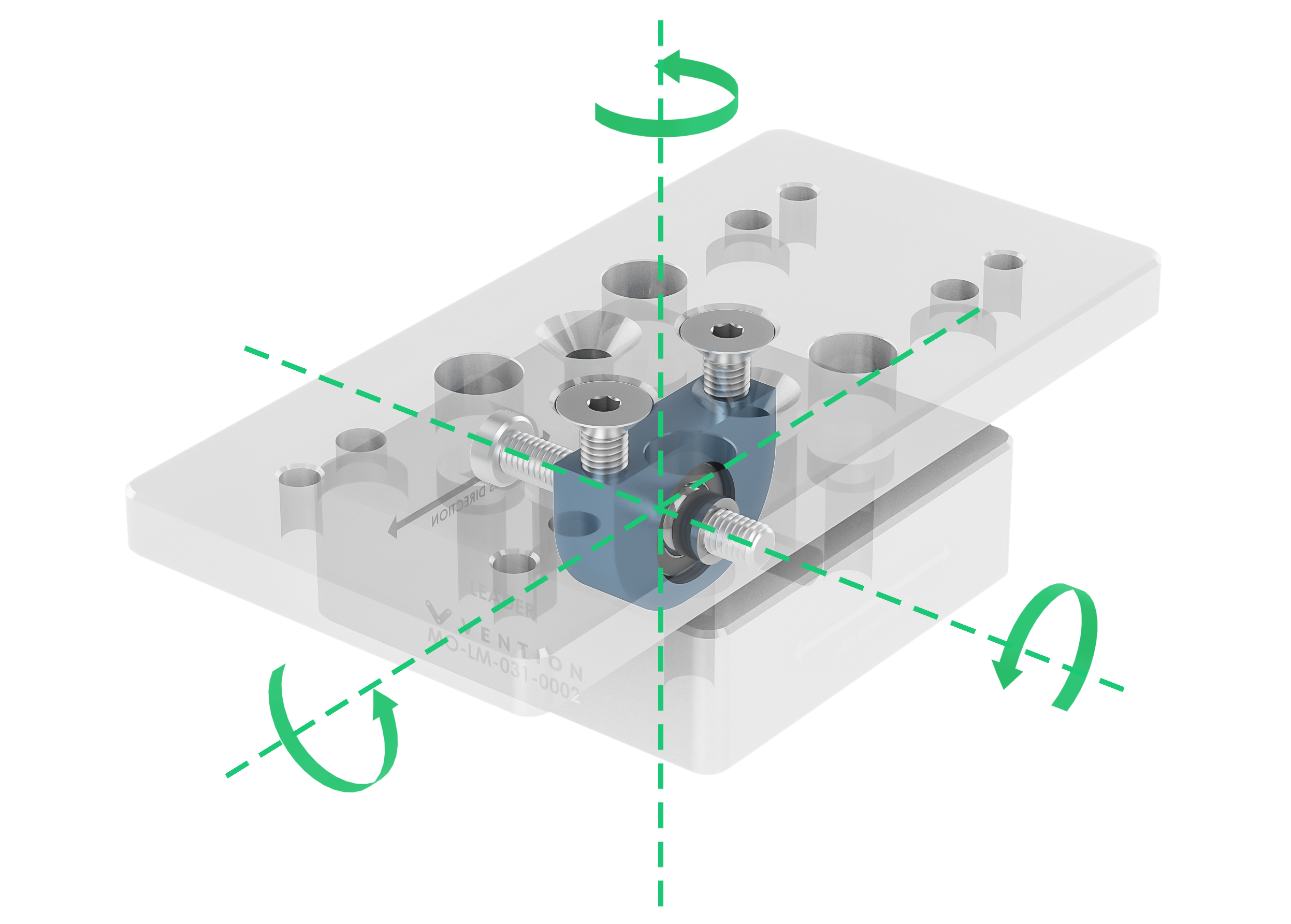 Figure 3: Self-aligning leader mount, with degrees of freedom (three rotational) indicated by solid green arrows. Note that there is no translational degree of freedom.