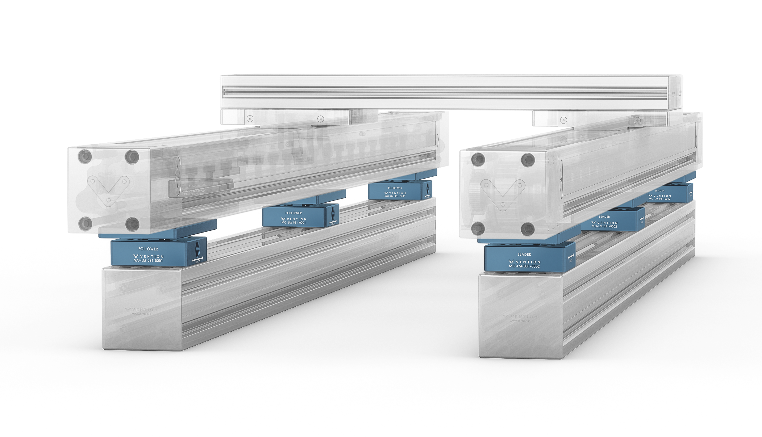 Figure 1: Two enclosed actuators mounted in parallel using the self aligning mounts.