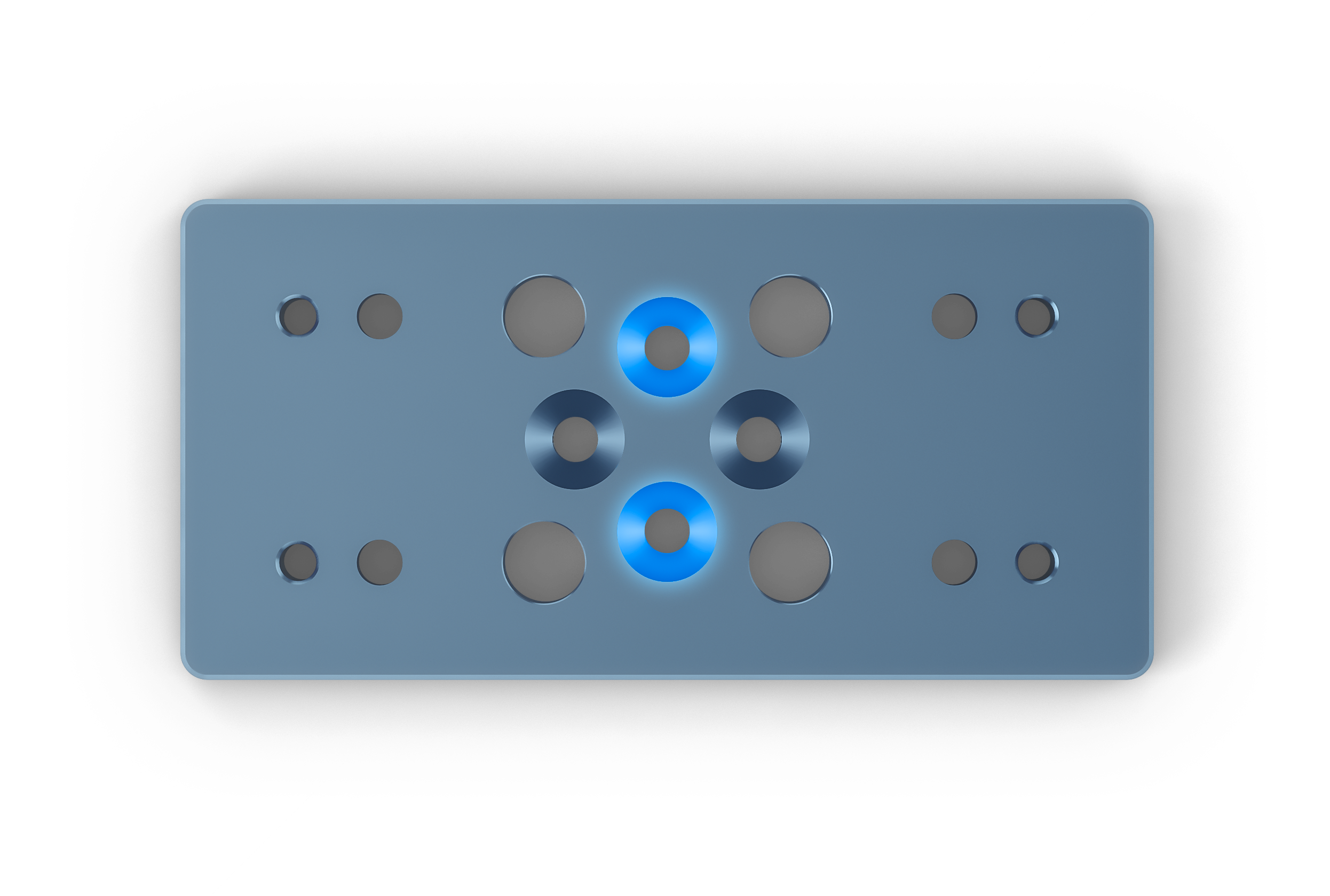 Figure 8: Countersinks (highlighted in blue) for attaching the mount via standard gussets.