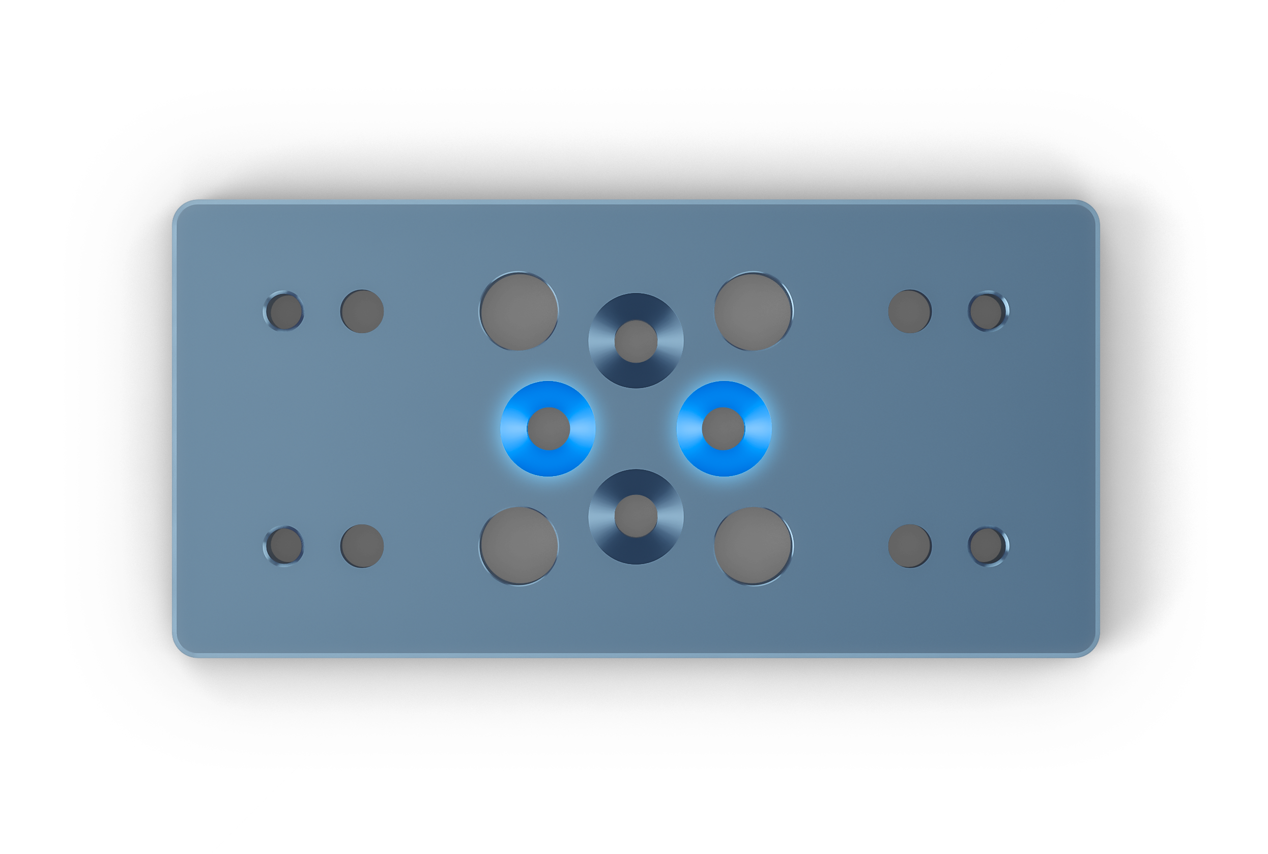 Figure 9: Countersinks (highlighted in blue) for attaching the mount via the actuator's t-slots.