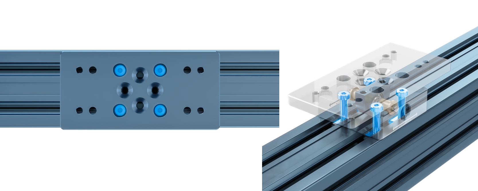 Figure 6: Install fasteners in these counterbores (highlighted in blue) to attach the self-aligning mount to the extrusion frame.