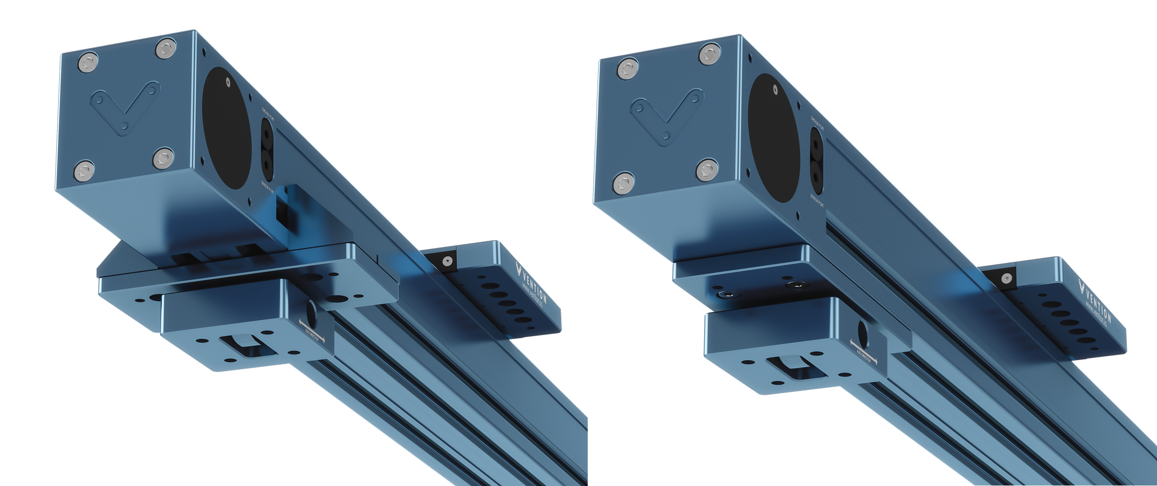 Figure 7: Possible mount orientations for connection to the actuator. Left: Attached to the actuator via ST-GP-003-0001 standard gussets. Right: Attached directly to the actuator via the t-slots on the actuator's underside.