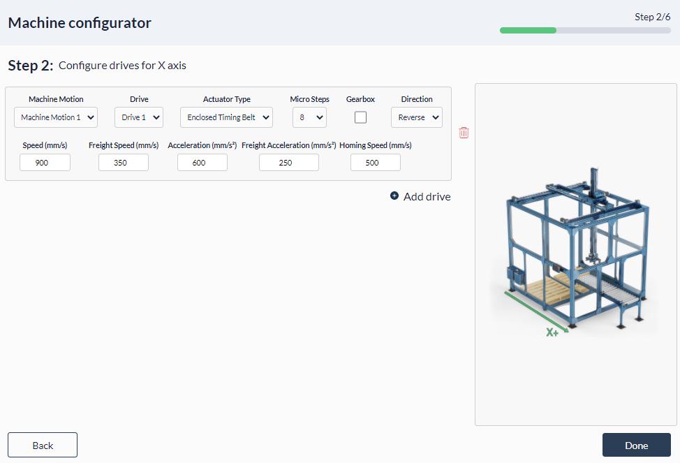 Figure 9: Palletizer MachineApp: Configuring x-axis actuator