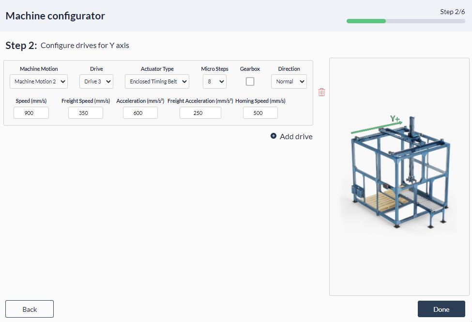 Figure 10: Palletizer MachineApp: Configuring y-axis actuator
