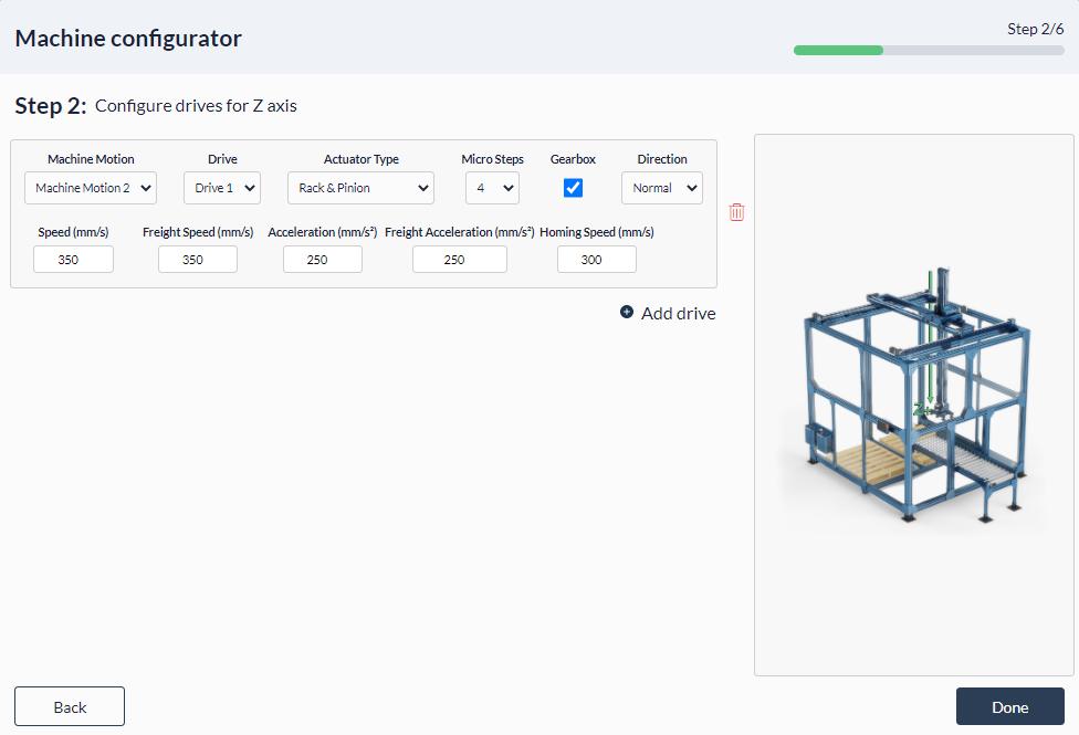 Figure 11: Palletizer MachineApp: Configuring z-axis actuator