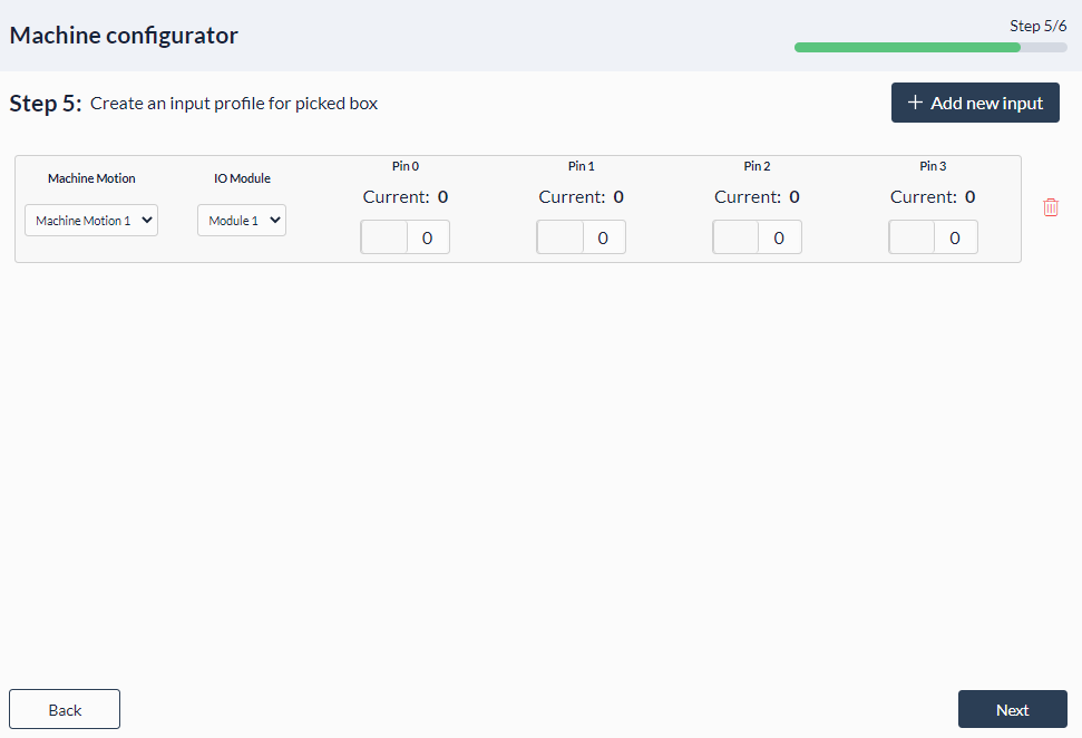Figure 18: Palletizer MachineApp: Input profile for picked box
