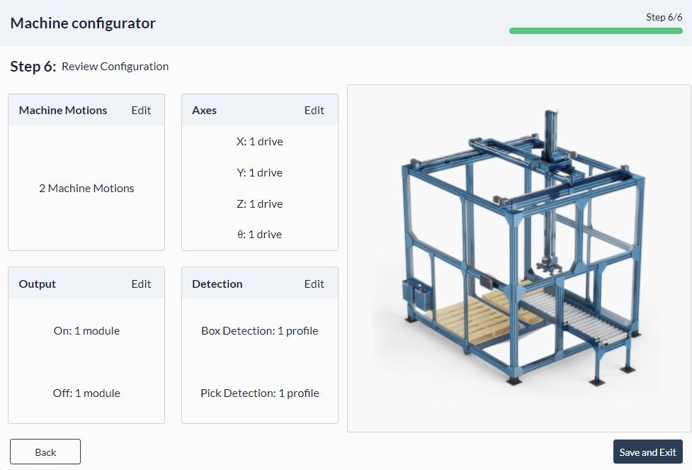 Figure 19: Palletizer MachineApp: Review machine configuration