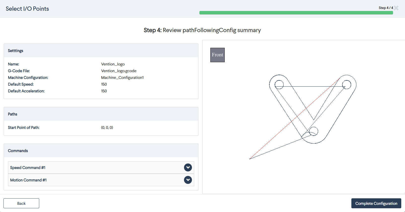 Figure 20: Path following MachineApp: Adding commands \(two coordinates\)