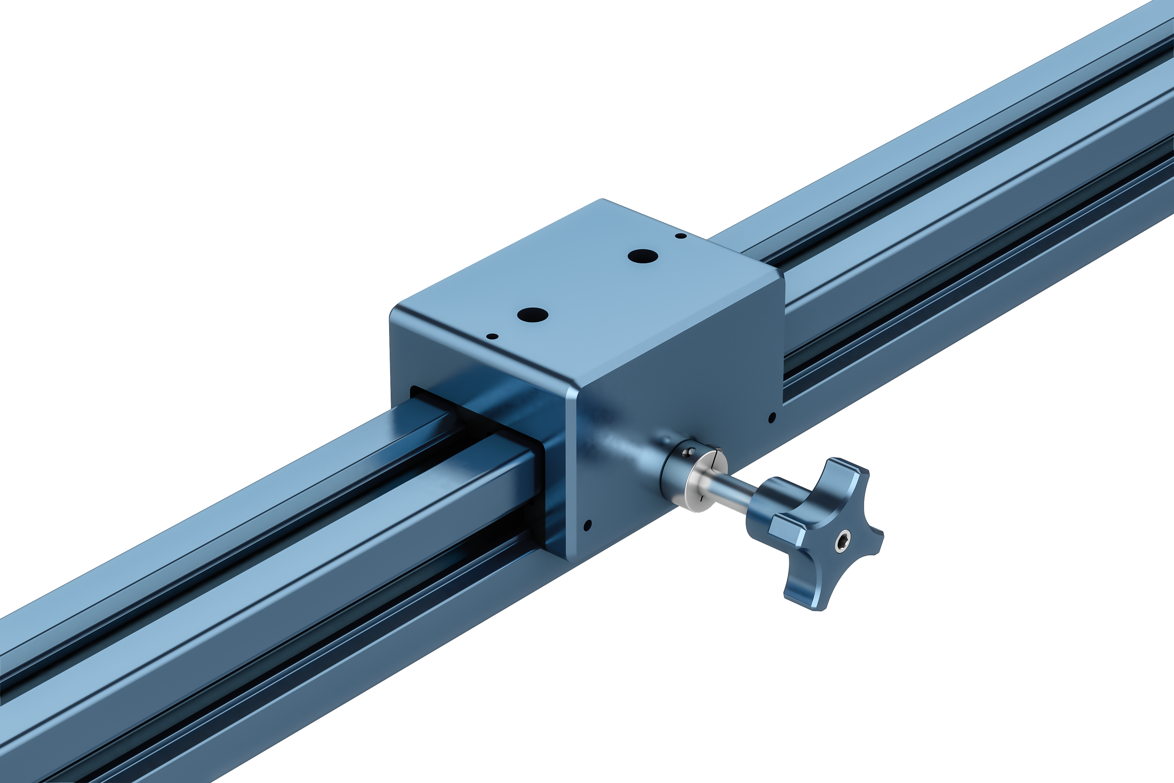 Profile slider secured with a screw \(left\) and an extended length knob \(right\)