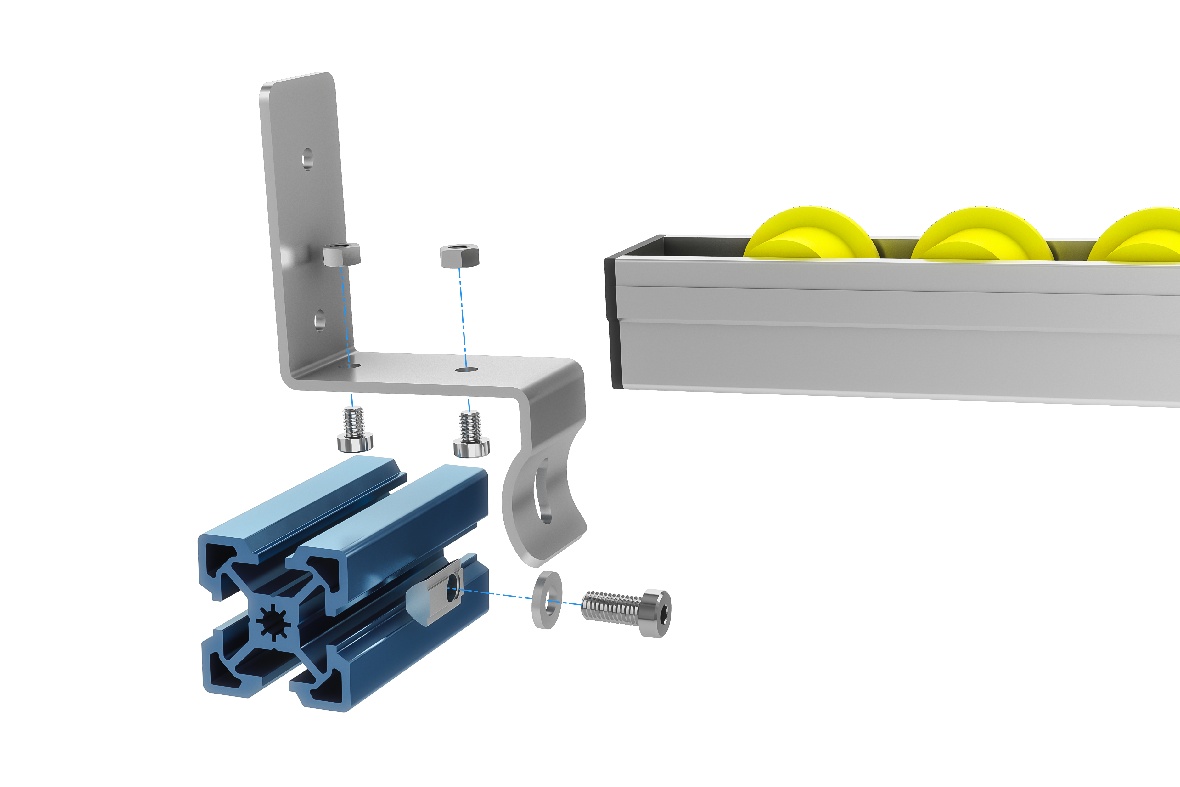 Flow rail exploded view: mounting with end stop configuration.