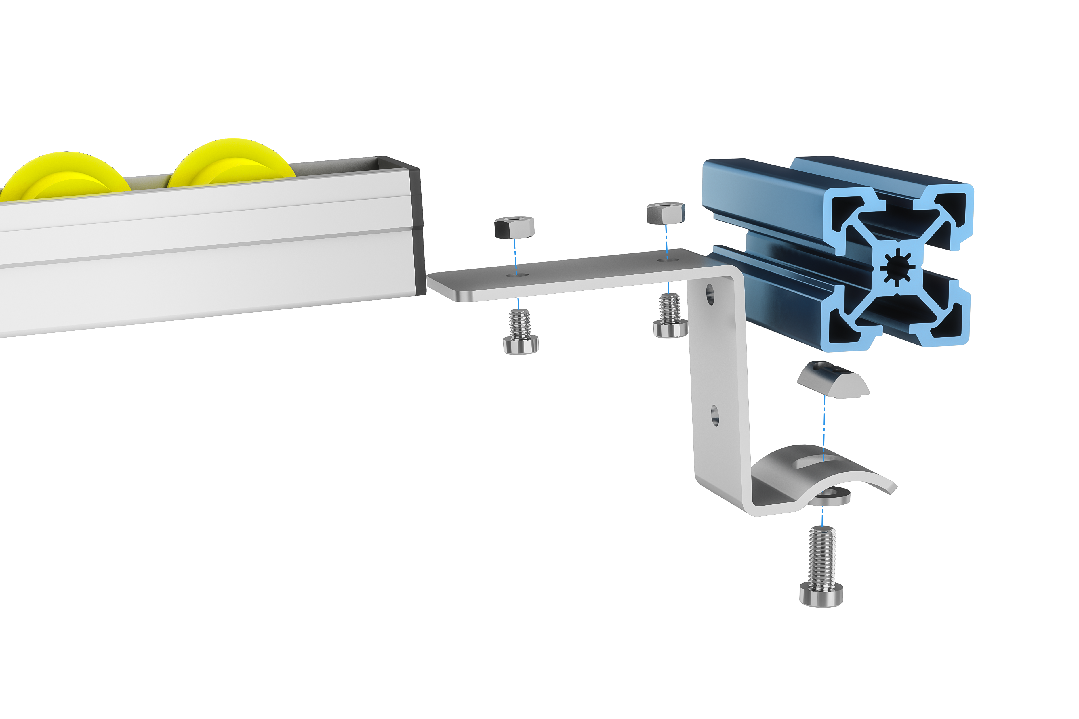 Flow rail exploded view: no end stop configuration.