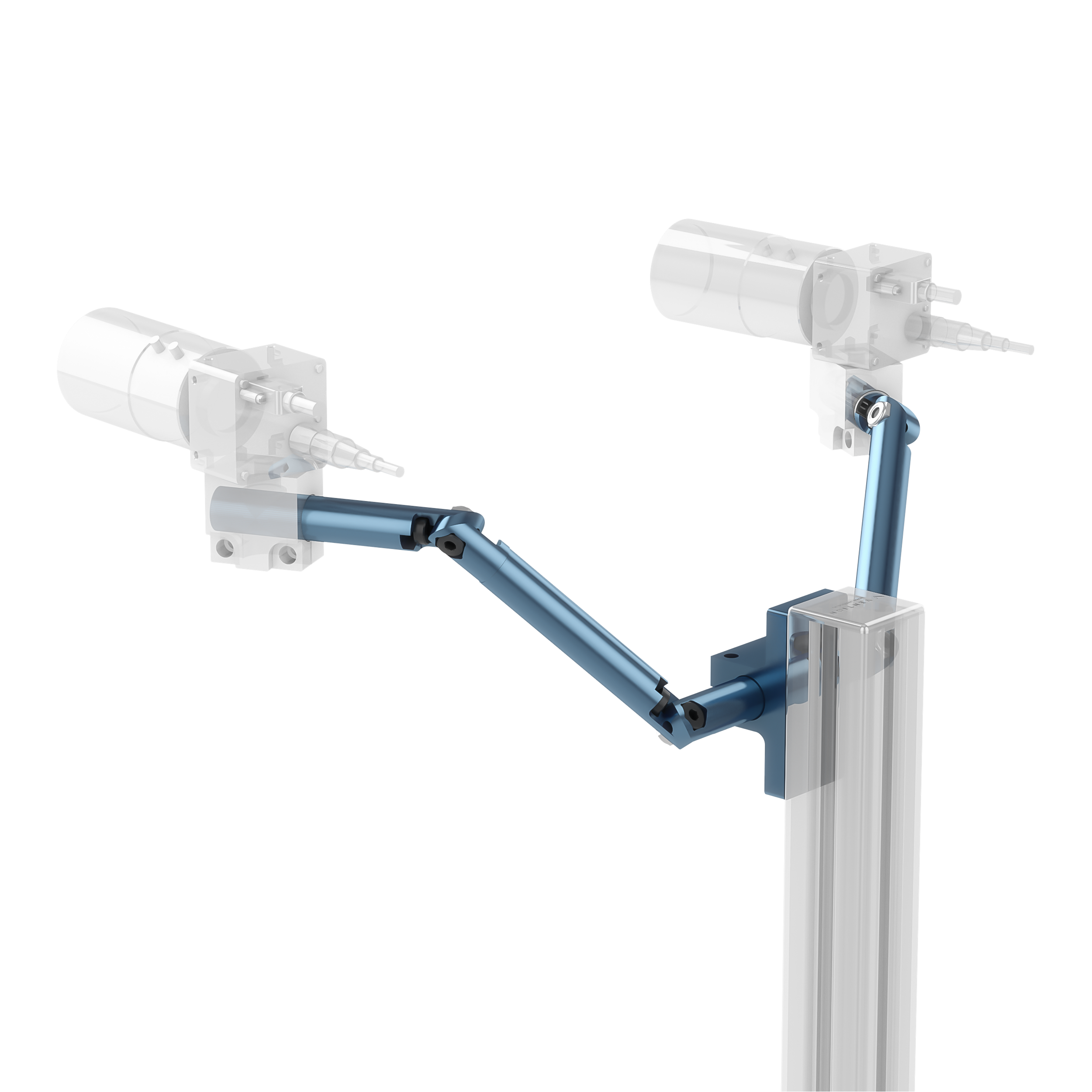 Two cameras, mounted with round extrusions on adjustable arms.