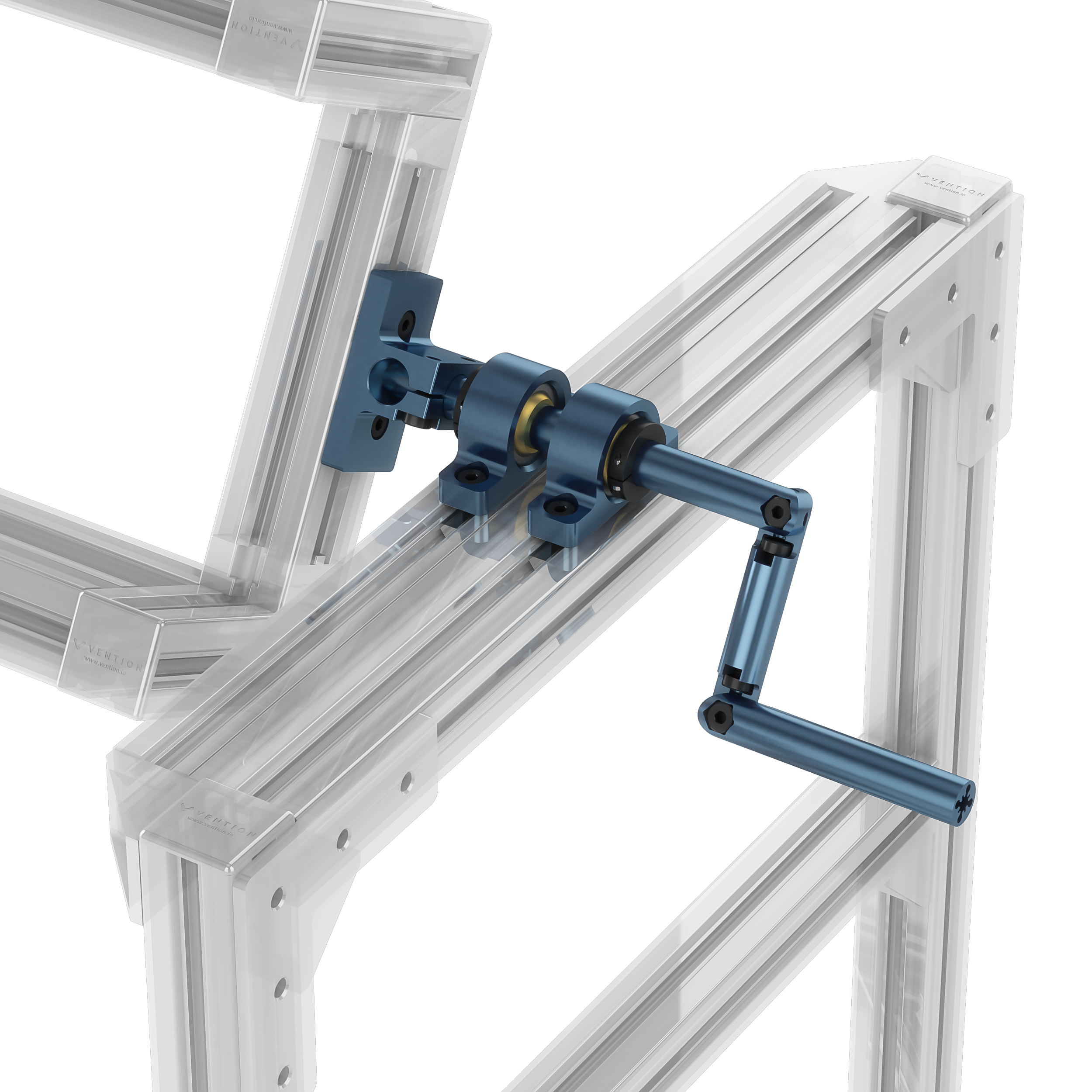 Rotating assembly supported by two pillow bearings.