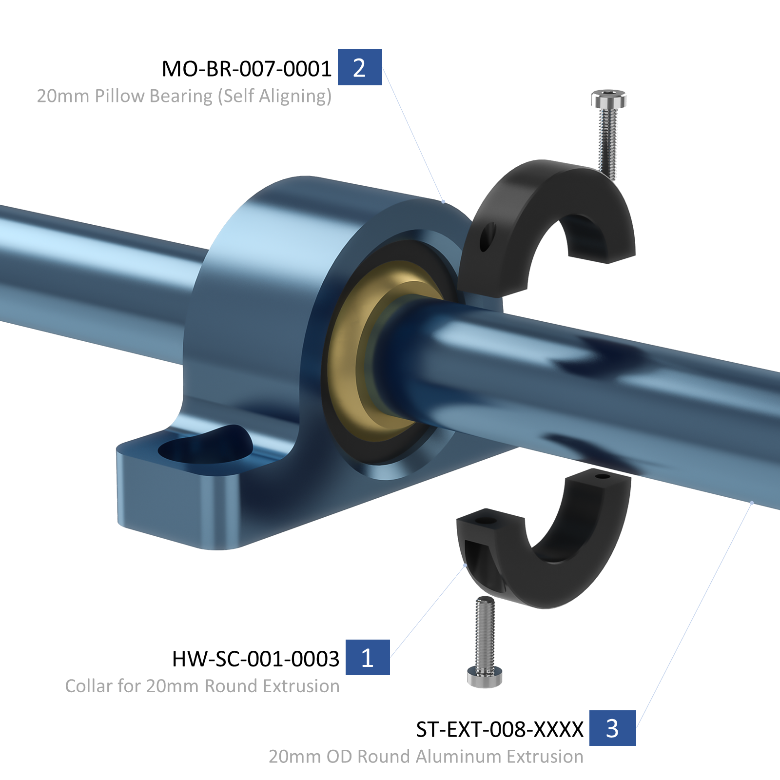 Shaft, bearing and collar assembly.
