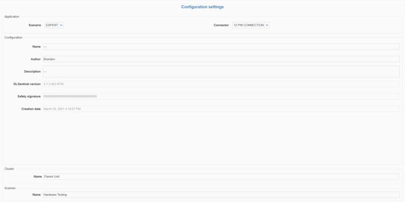 Figure 4: Configuration settings page