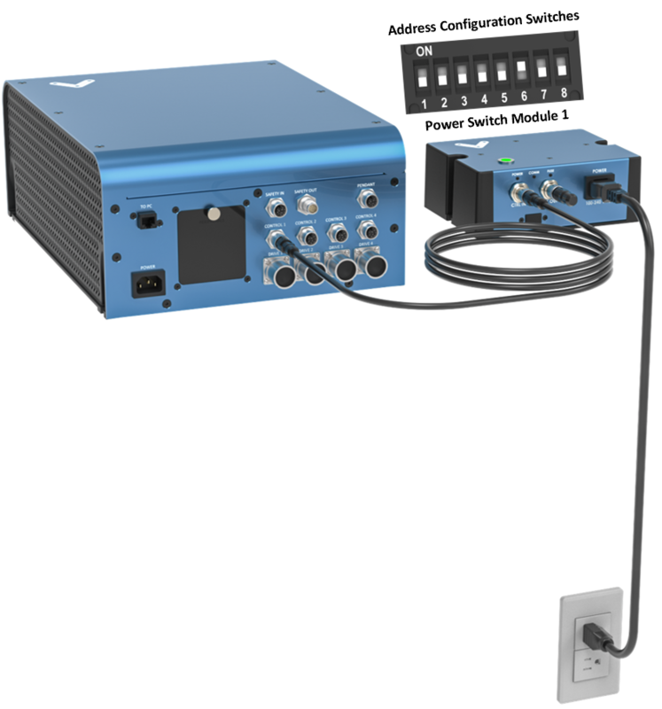 Figure 2: Connecting a Power Switch Module directly to MachineMotion 2 to control an external device..