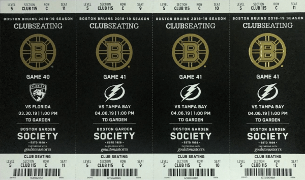 Boston Bruins Tickets TD Garden
