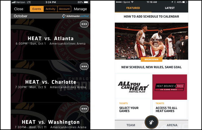 Mobile-only Tickets for Miami Heat