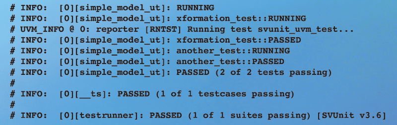 Figure 8 - Passing log output for multiple unit tests