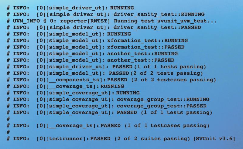 Figure 10 - Passing log output for multiple testsuites