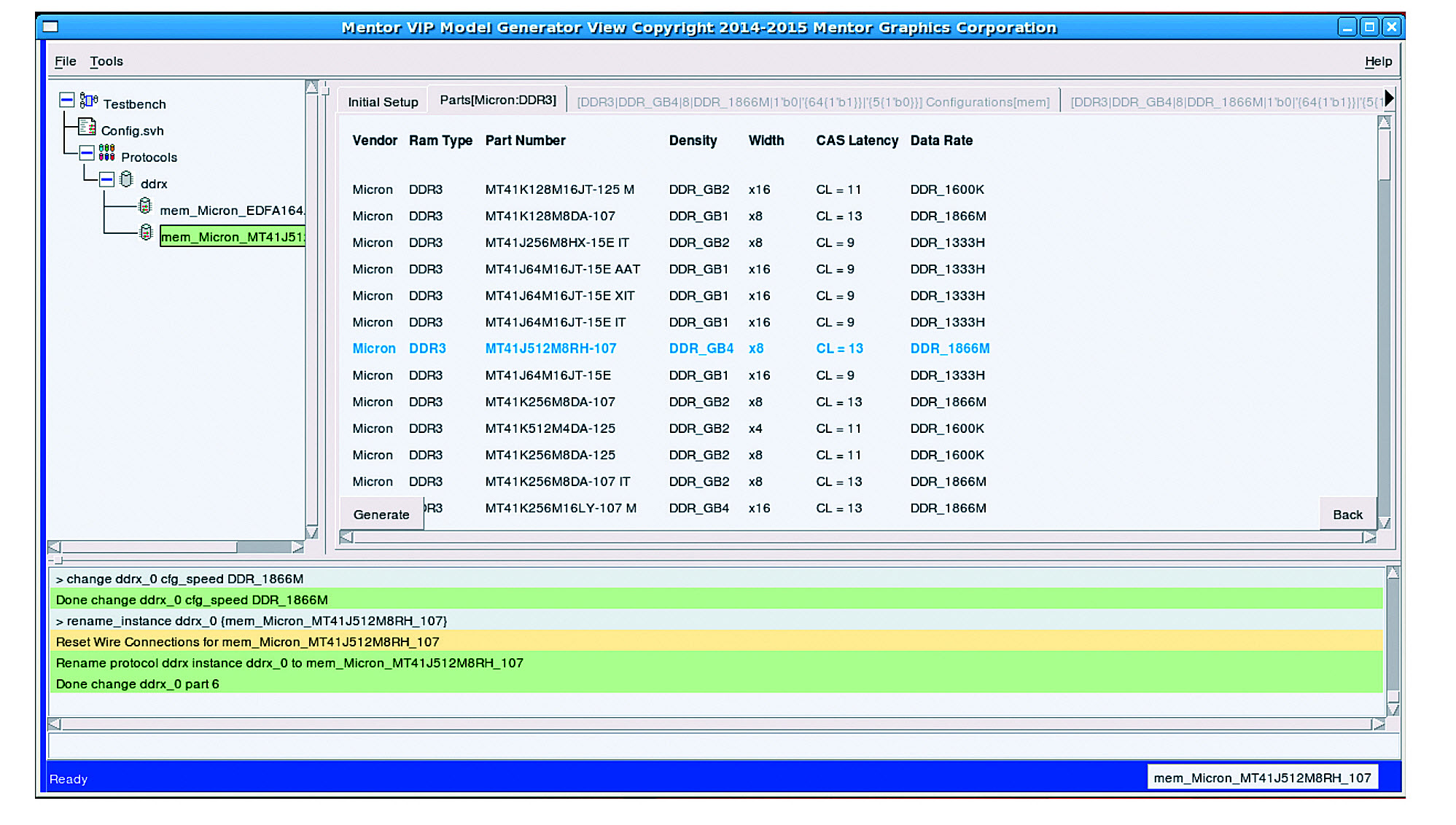 Figure 2. Screen shot of the Model Generator GUI