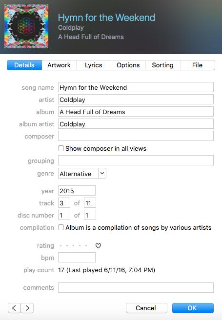 ID3 tag metadata in iTunes