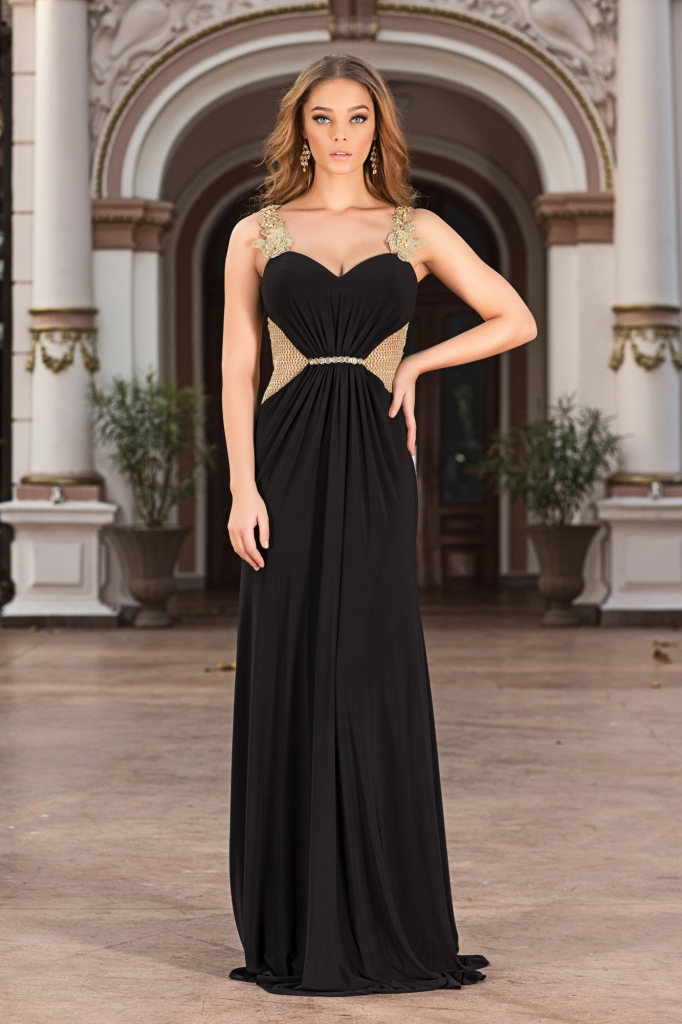 black and gold evening dress