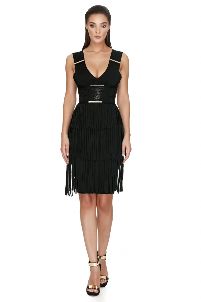 fringe-dress-black-bandage-dress-prunellie