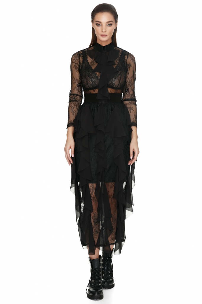 vero-milano-black-semi-sheer-lace-dress-with-frills