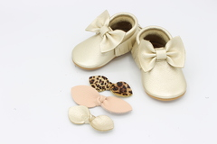 Champagne Bow Mocs & 3 Pack of Headbands