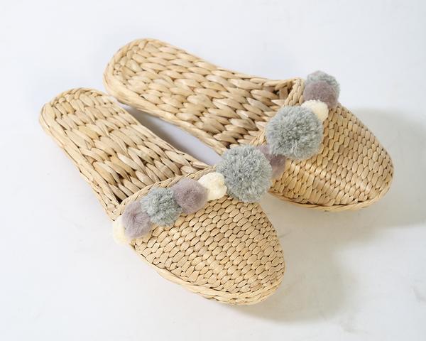 Charcoal Gray Pom Pom Slippers