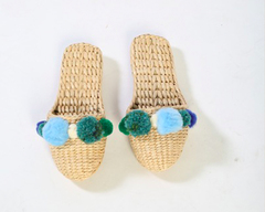 Ship Wreak Teal Pom Pom Slippers