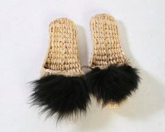 Black Lamb Fur Slippers