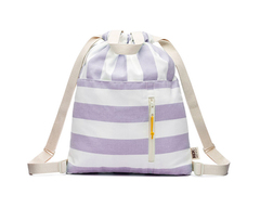Striped Canvas Drawstring Backpack