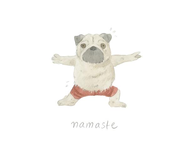 Warrior Pose Namaste Pug