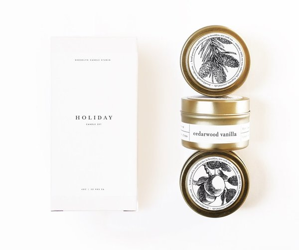 Holiday Gold Travel Candle Set