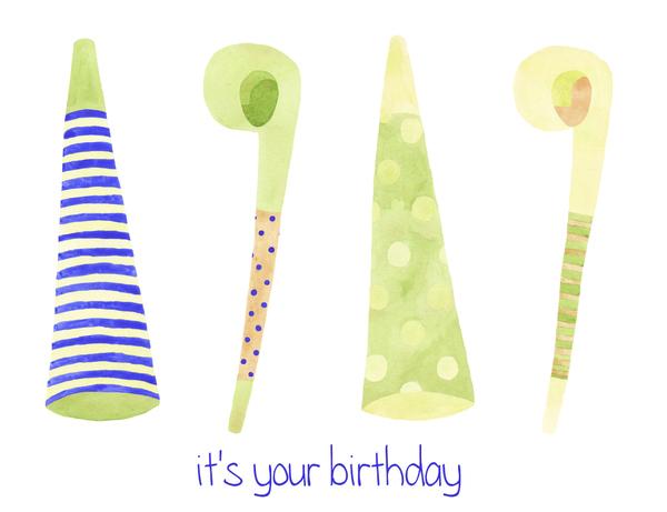 Blue Birthday Hats