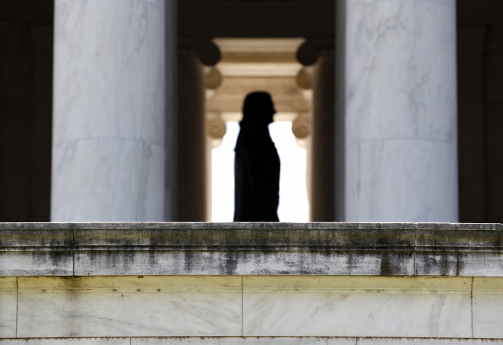 A grimy biofilm is seen along the outside wall of the Thomas Jefferson Memorial in Washington, Wednesday, Aug. 10, 2016.The Washington Post reports that conservationists are baffled over how to stop a microbial invasion that's been slowly covering the Jefferson Memorial in recent years. It's causing the 73-year-old white neoclassical structure to take on a dingy look. Now Park Service officials are experimenting with several cleaning solutions in hopes of removing the gunk without damaging the marble. (AP Photo/Carolyn Kaster)