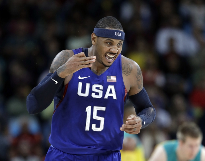 United States' Carmelo Anthony (15) reacts to a score against Australia during a men's basketball game at the 2016 Summer Olympics in Rio de Janeiro, Brazil, Wednesday, Aug. 10, 2016. (AP Photo/Eric Gay)