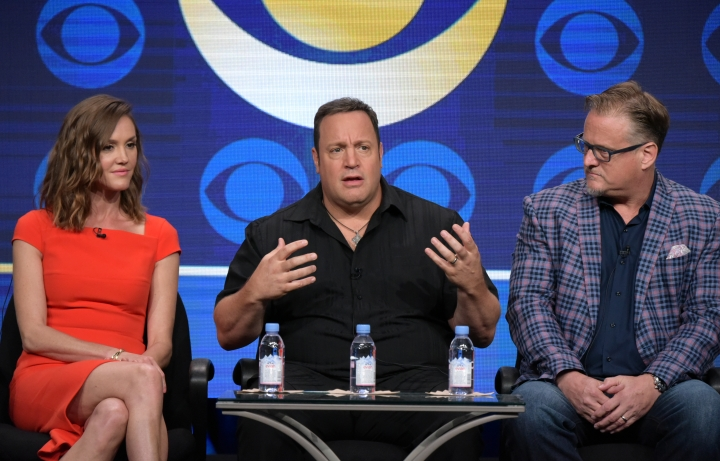 """Erinn Hayes, from left, actor/executive producer Kevin James and executive producer Rock Reuben participate in the """"Kevin Can Wait"""" panel during the CBS Television Critics Association summer press tour on Wednesday, Aug. 10, 2016, in Beverly Hills, Calif. (Photo by Richard Shotwell/Invision/AP)"""