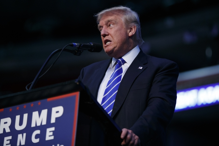 Republican presidential candidate Donald Trump speaks during a campaign rally at the BB&T Center, Wednesday, Aug. 10, 2016, in Sunrise, Fla. (AP Photo/Evan Vucci)