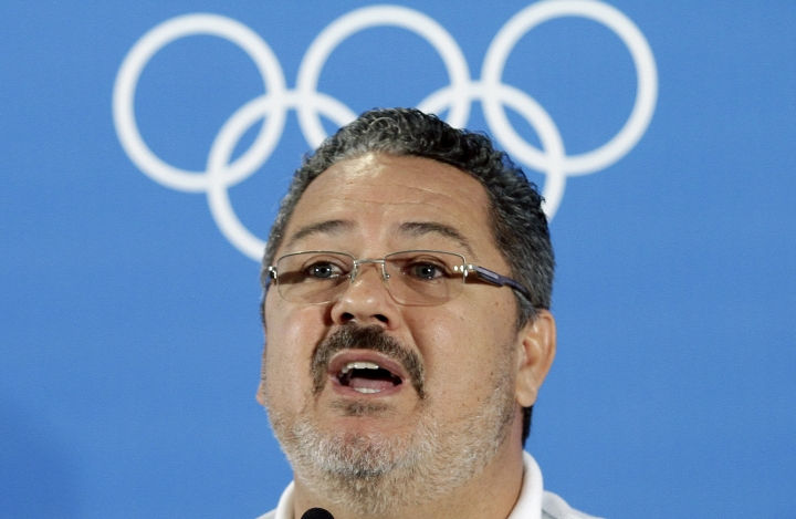 Brazil's Olympic soccer coach Rogerio Micale speaks during a press conference during the 2016 Summer Olympics in Salvador, Brazil, Tuesday, Aug. 9, 2016. Brazil holds its match against Denmark on August 10. (AP Photo/Arisson Marinho)