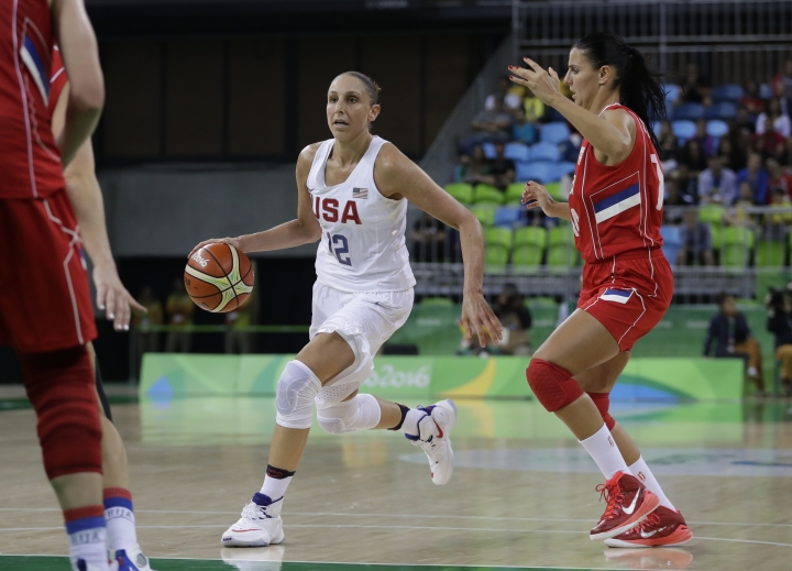 United States guard Diana Taurasi dribbles during the second half of a women's basketball game against Serbia at the Youth Center at the 2016 Summer Olympics in Rio de Janeiro, Brazil, Wednesday, Aug. 10, 2016. The United States defeated Serbia 110-84. (AP Photo/Carlos Osorio)