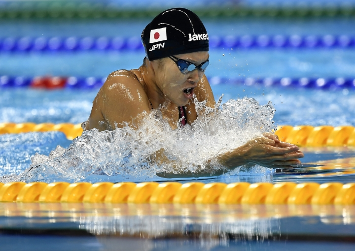 Japan's gold medal winner Rie Kaneto competes in a women's 200-meter breaststroke final during the swimming competitions at the 2016 Summer Olympics, Thursday, Aug. 11, 2016, in Rio de Janeiro, Brazil. (AP Photo/Martin Meissner)
