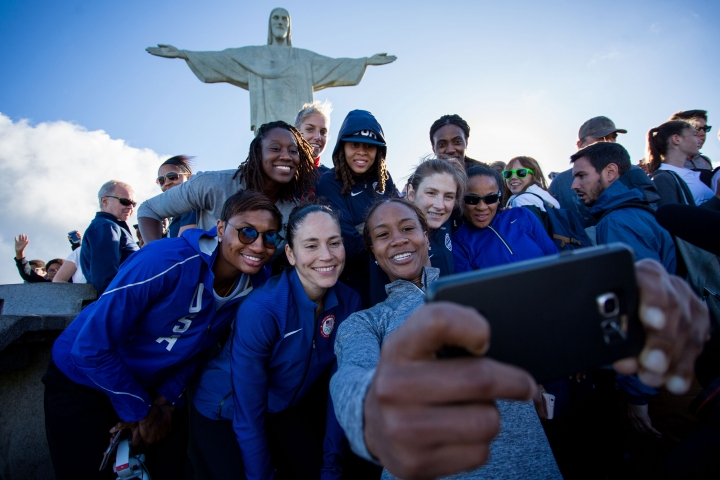 Members of the United States basketball women team visit the Christ the Redeemer statue during the 2016 Summer Olympics in Rio de Janeiro, Thursday, Aug.11, 2016. (AP Photo/Mauro Pimentel)
